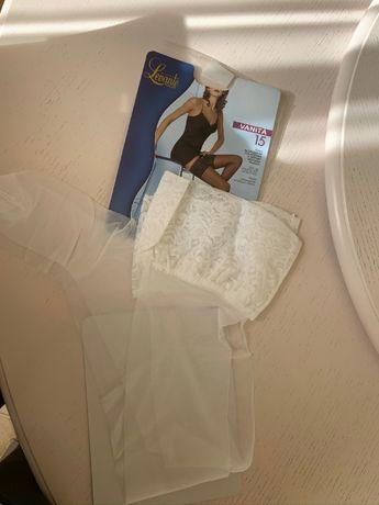 свадебные чулки Levante calze vanita 15 den bianko c широкой кружевом