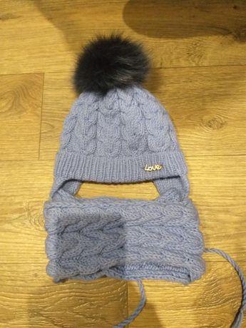 Продам теплую вязаную шапку с хомутом и теплую тунику