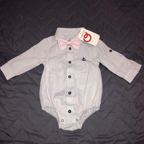 Боди-рубашка Mamino с бабочкой(снимается), 1-3 мес.