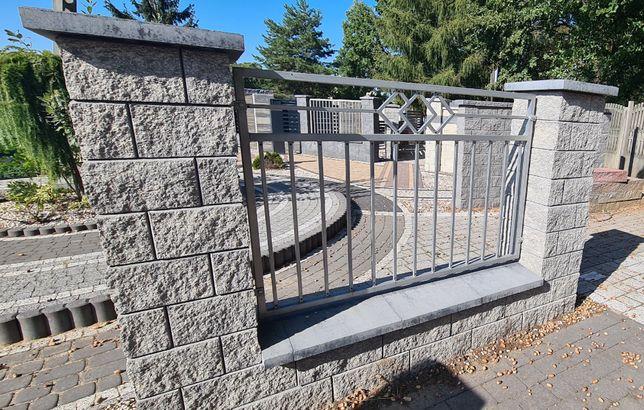 PUSTAKI ŁUPANE bloczek ONIX słupek grafit melanż ogrodzenie murki LUB