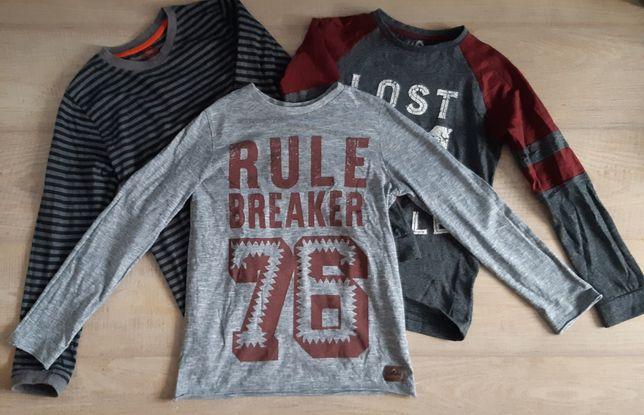 3 bluzki z długim rękawem 5-10-15, F&F 140 chłopiec 9-10 lat