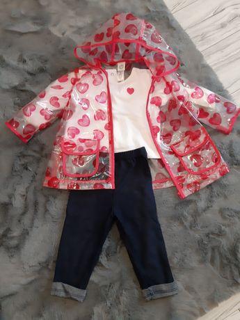 Komplet spodnie, bluzka i płaszczyk przeciwdeszczowy rozmiar 74cm