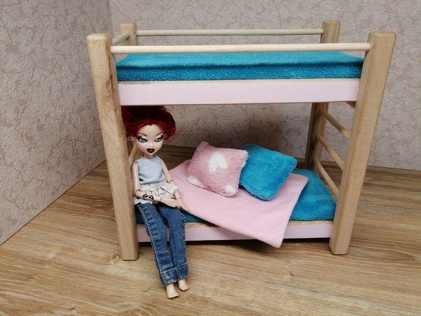 Łóżko piętrowe dla lalek typu barbie. Mebelki drewniane dla lalek.