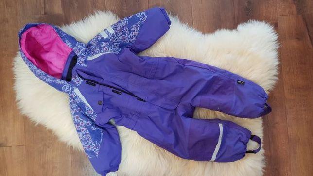 Fioletowy kombinezon narciarski H&M zwierzeta lesne 92