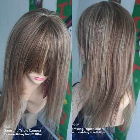 Натуральный парик с чёлкой детские славянские русые волосы 45 см