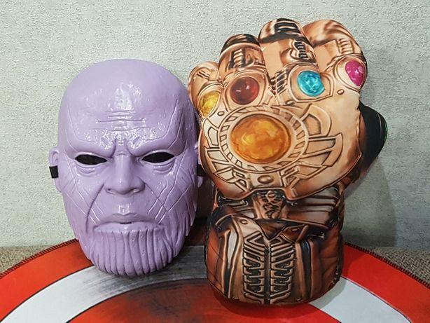 Мягкая перчатка-рука Таноса, Марвел, 33см, маска Таноса с подсветкой.