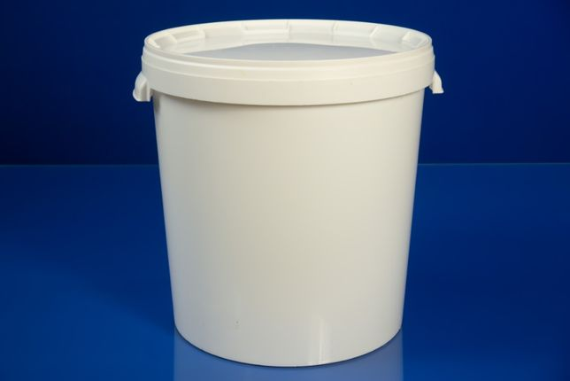 Ведро пластиковое, пищевое на 30 литров (Польша). Белая крышка.