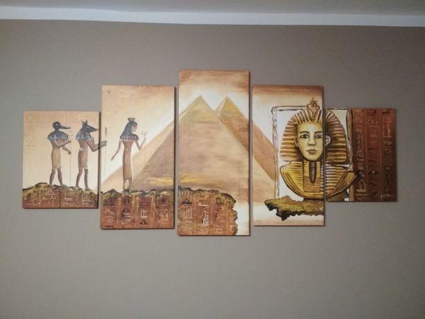 Obraz malowany na płotnie, pięcioelementowy, motyw Egipt