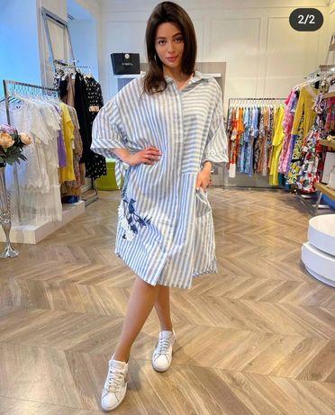 Шикарное платье рубашка с вышивкой