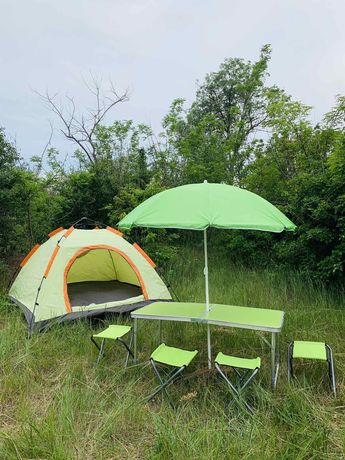 Стол раскладной  + зонт + 4 стула туристический