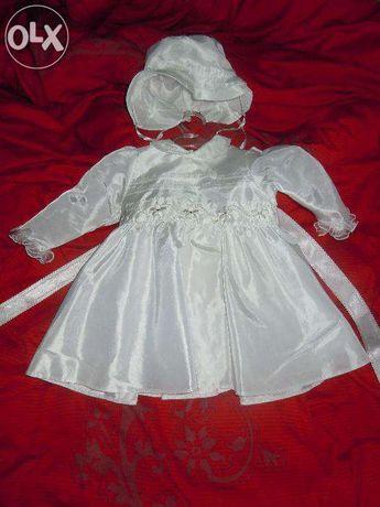 chrzest. sukienka + kapelusik do chrztu jak nowe