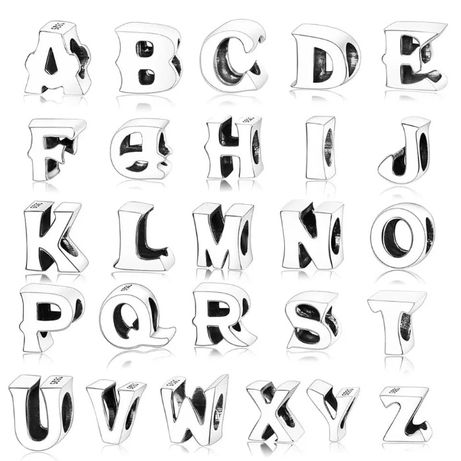 Charms PANDORA srebro 925 alfabet litera ABCDEFGHIJKLMNOPRSTUVWXYZ oka