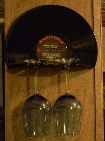Suporte para 2 copos em disco vinil