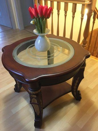 Stolik kawowy, drewniany, orzechowe drewno