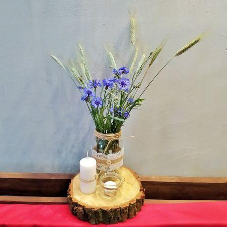 Rustykalna ozdoba na stół, wazon, świecznik, wesele, Boho ;)