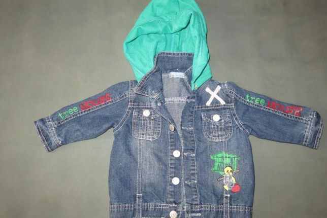 Детский катоновый пиджак с съемным капюшоном на мальчика