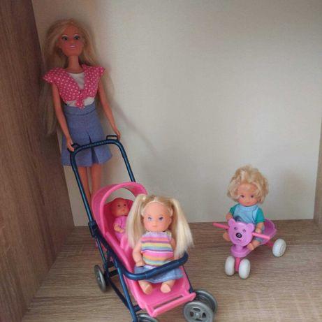 Lalka barbie mama z dzieckiem w wózku