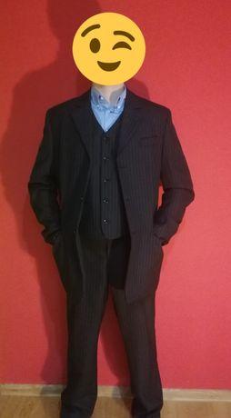 3 częściowy elegancki garnitur w prążki w bardzo dobrym stanie