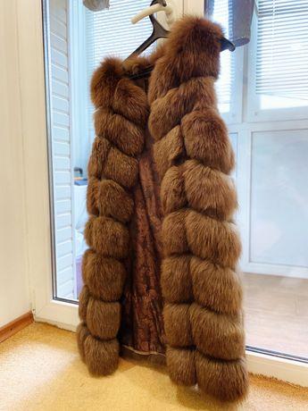 Меховая жилетка с песца 90 см коричневого цвета