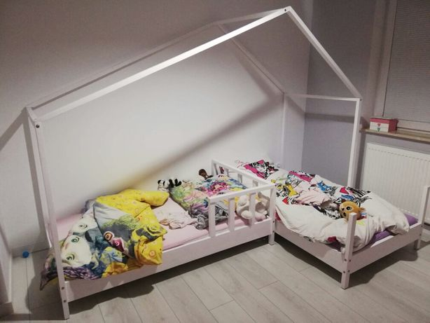Łóżko domek kształt litery L (podwójne,łóżka,domki)