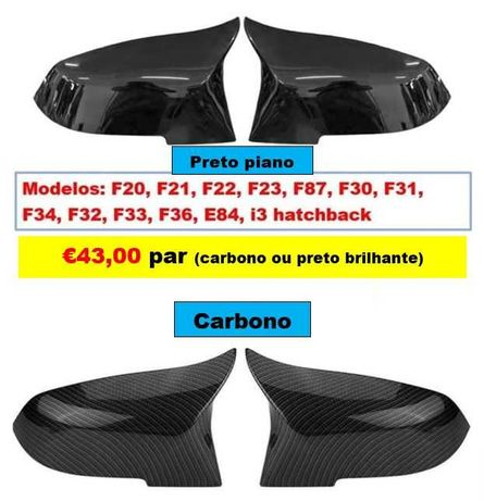 Capas Espelho retrovisor Preto Piano ou Carbono BMW séries 1 2 3 e 4