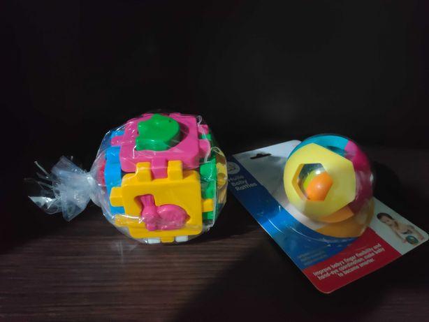Кубик сортэр логический и двойной шарик.