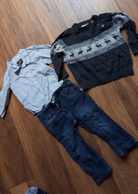 Zestaw paka koszula spodnie sweter 80/86 h&m Reserved kapp ahl