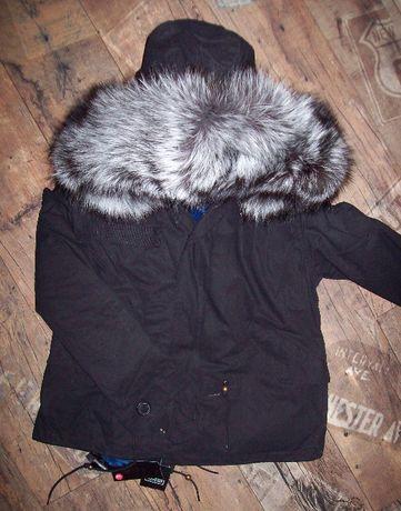 Kurtka parka czarna futro silver niebieskie 40 L