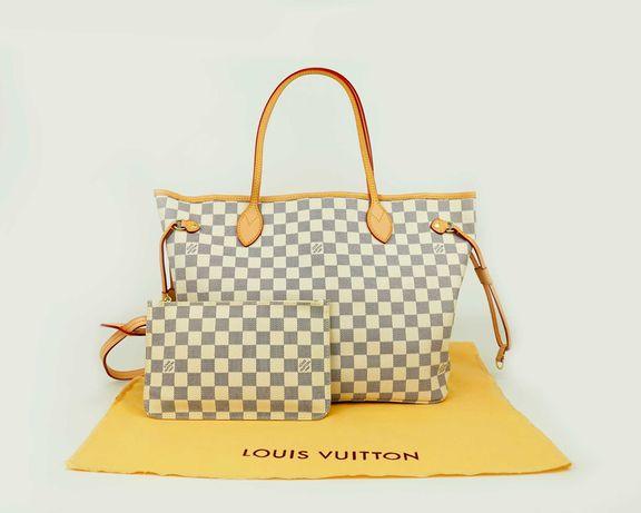 Mala Louis Vuitton Neverfull MM 32 Canvas Branco alto padrão