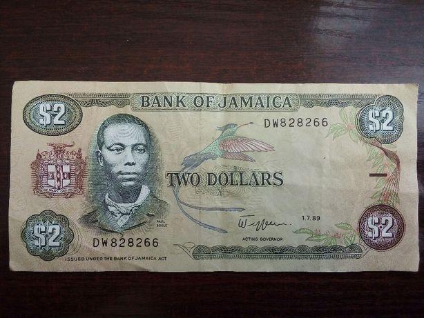 Banknot 2 dolary Jamajka