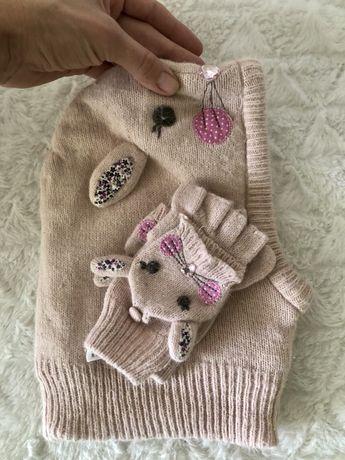 Набор балаклава Accessorise ангора с перчатками на 3-5 лет
