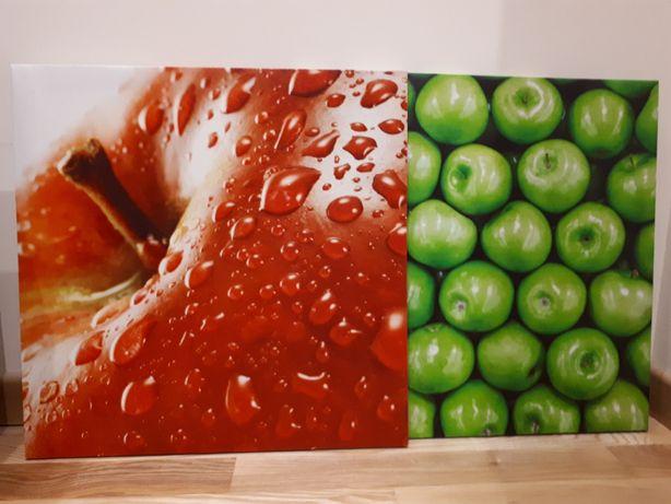 Jak nowe dwa obrazki 40x40 cm, motyw jabłka
