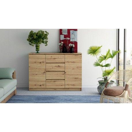 Komoda BELLA DS24 kolor dąb artisan- szuflady +półki POJEMNA