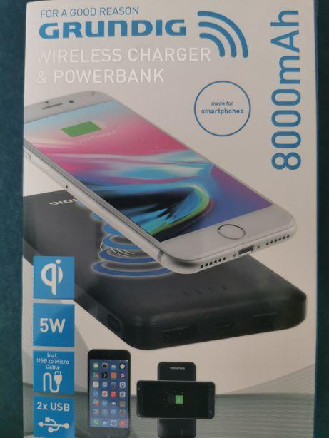 NOWY powerbank firmowy GRUDIG 8000 realnej mocy ŁADOWANIE INDUKCYJNE