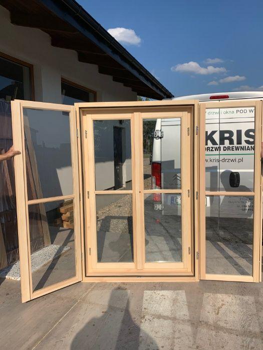 Okno drewniane dwuskrzydłowe skrzynkowe starego typu 125x188 od RĘKI Grzybno - image 1