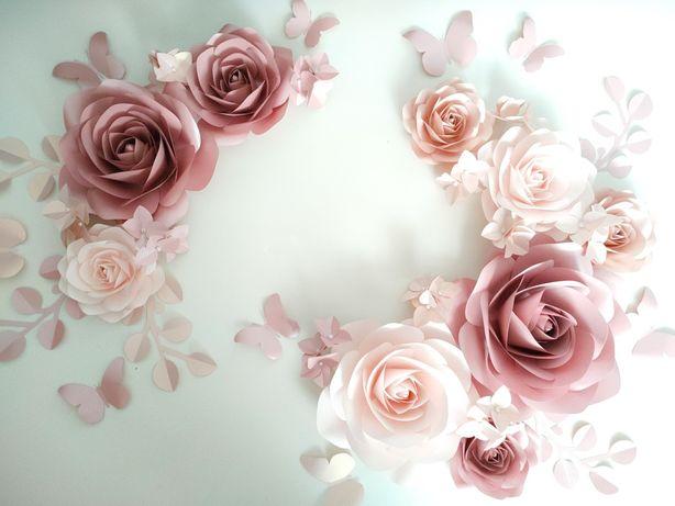 Цветы из бумаги, сет из цветов, цветы на стену, паперові квіти