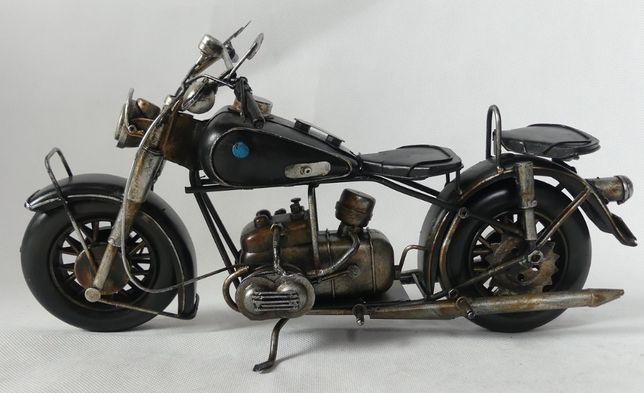 Metalowy MOTOR czarny retro pojazd 34 cm motocykl