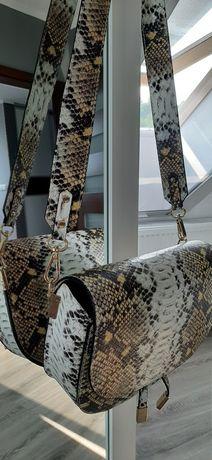 Nowa Listonoszka torebka skórzana włoska wężowy wzór hit