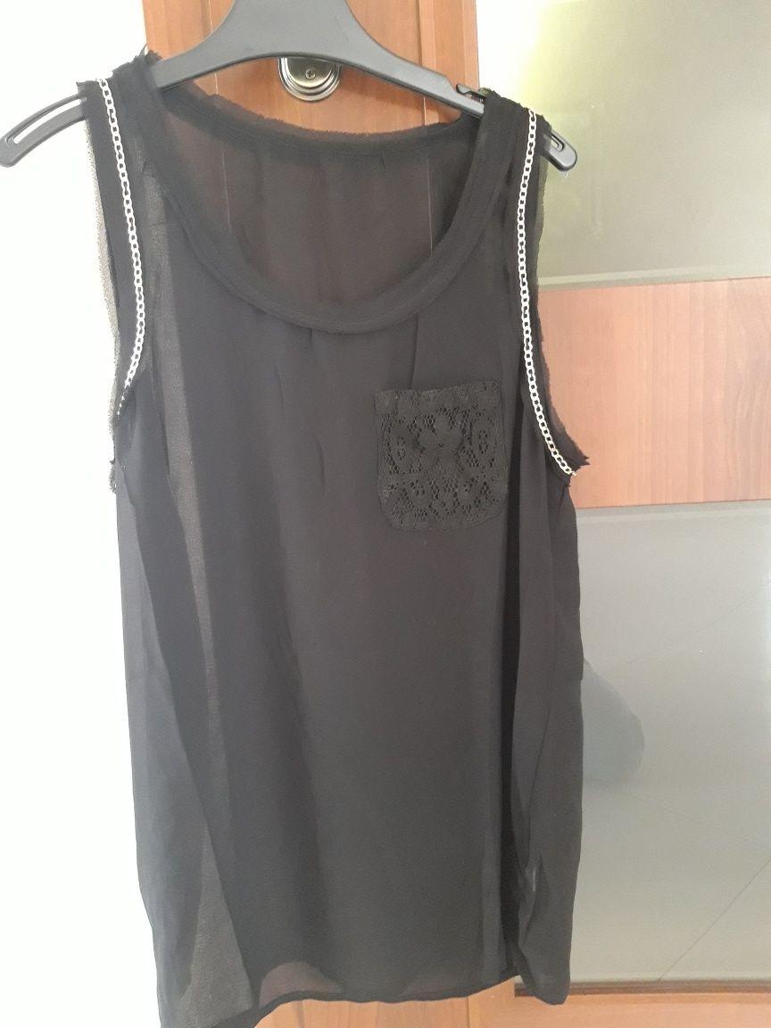 Nowa bluzka mgiełka czarna złote łańcuszki i koronka M/L