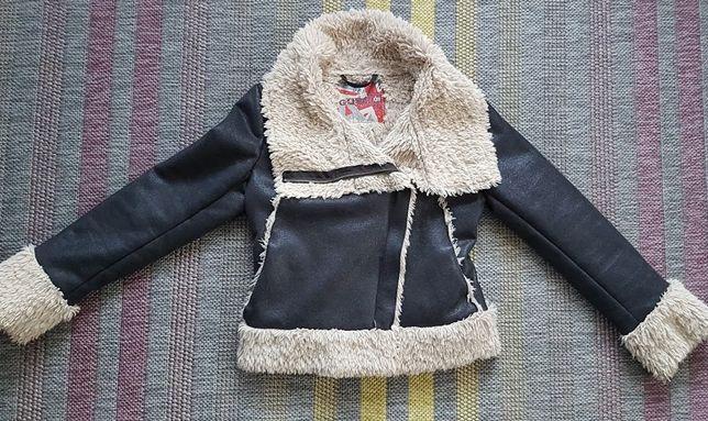 kurtka ramoneska z futerkiem dla dziewczynki rozmiar 140