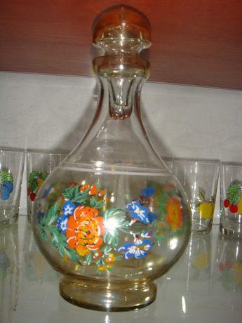Karafka ręcznie malowana szkło z czasów PRL