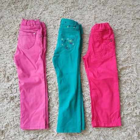 Spodnie dziewczęce 98, różowe, zielone.