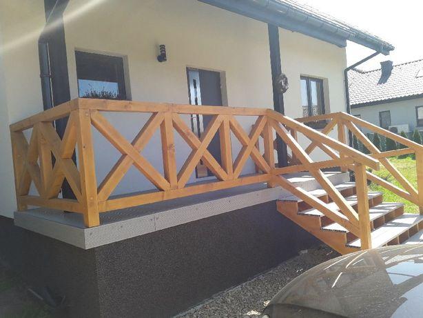 Balustrada drewniana, przęsło, balkon, taras, krzyże klasyczny wzór