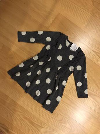Sukienka ze sweterkowej dzianiny w kropki h&m hm r. 86 nowa z metka