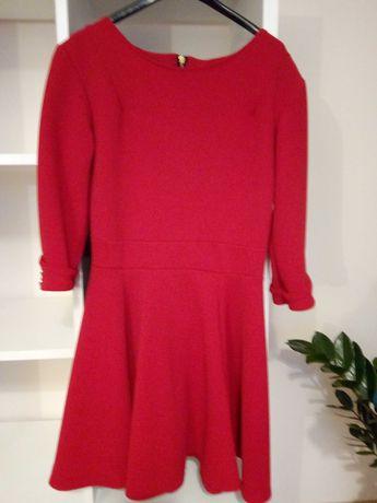 Sukienka czerwona ze złotym zamkiem S