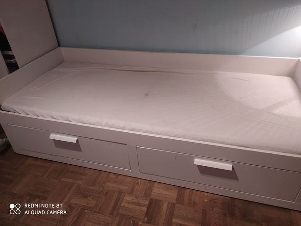 Łuóżko Brimnes Ikea Leżanka rozkładana z 2 materacami