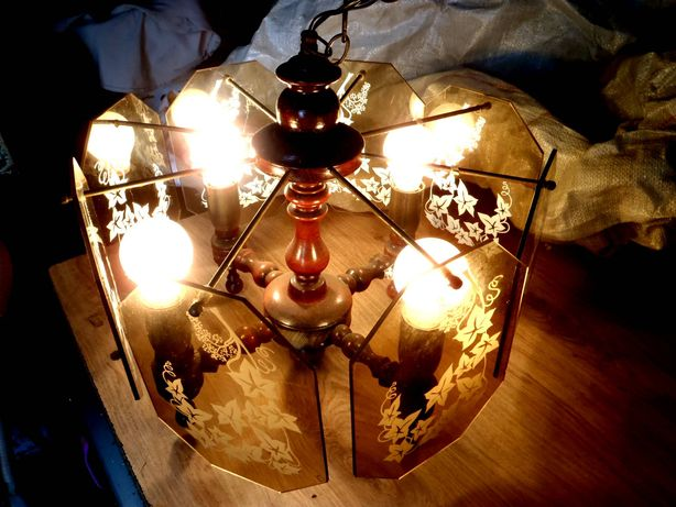 żyrandol drewniany szklany PRL 4 żarówki