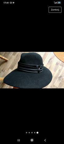 Kapelusz wełniany czarny vintage