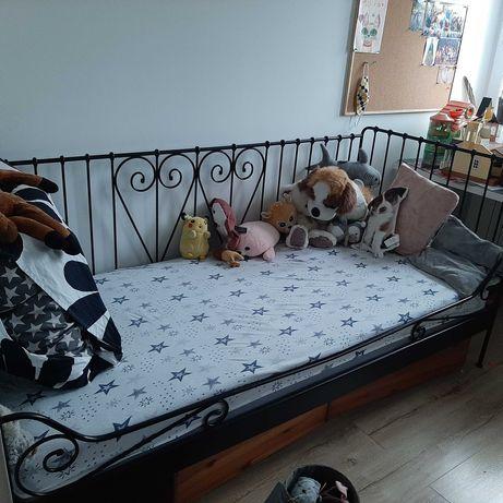 Łóżko IKEA 90x200 z materacem i pojemnikami pod łóżko