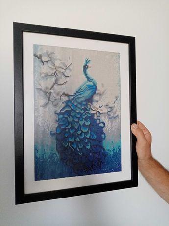 Quadro Pintura Diamante: Pavão Azul